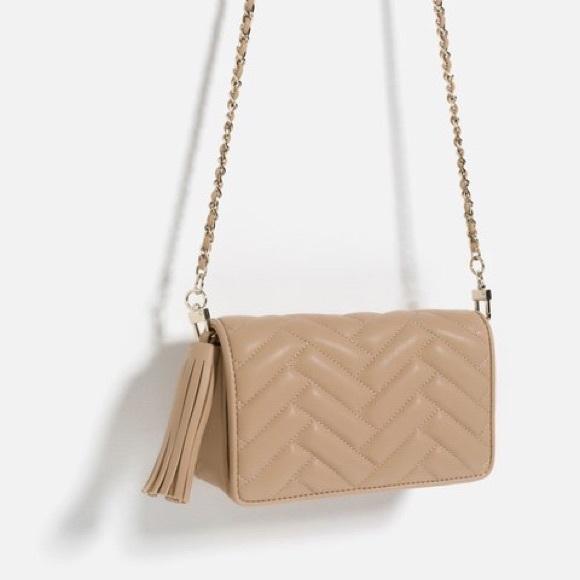 Zara Nude Quilted Crossbody Clutch bag